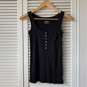 J. Crew Perfect Fit Black Tank Top with Buttons
